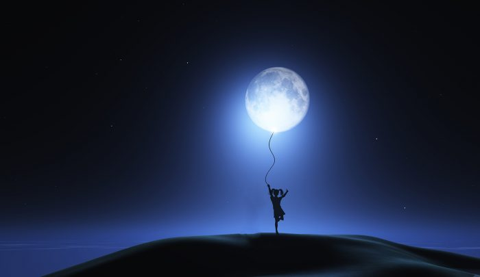 3D render of a surreal image with girl holding moon as a balloon